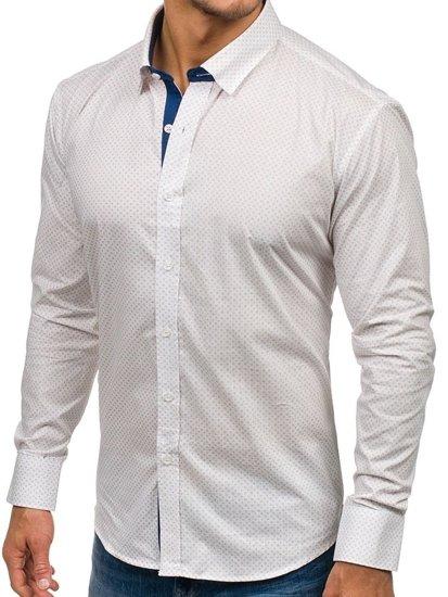 Biela pánska vzorovaná košeľa s dlhými rukávmi BOLF GET1012