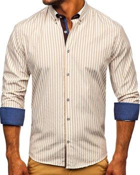 Béžová pánska prúžkovaná košeľa s dlhými rukávmi Bolf Bolf 20704