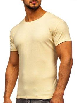 Béžové pánske tričko bez potlače Bolf 2005