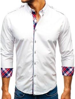 Biela pánska elegantá košeľa s dlhými rukávmi BOLF 1758