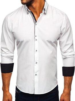 Biela pánska elegantá košeľa s dlhými rukávmi BOLF 6929-A