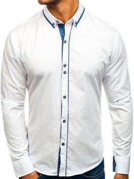 Biela pánska elegantá košeľa s dlhými rukávmi BOLF 8823