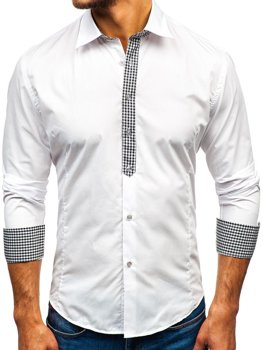 Biela pánska elegantná košeľa s dlhými rukávmi BOLF 0939