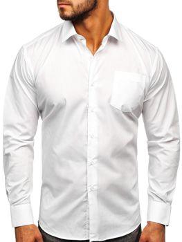 Biela pánska elegantná košeľa s dlhými rukávmi Bolf 0003
