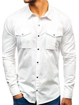 c40c9d8d69e2 Biela pánska košeľa s dlhými rukávmi BOLF 2058-1