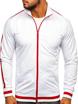 Biela pánska mikina na zips bez kapucne retro style Bolf 2126