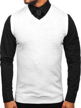 Biela pánska pletená vesta Bolf 2500