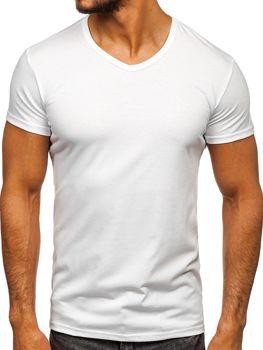59134c3a083c Biele pánske tričko bez potlače s výstrihom do V BOLF 2007