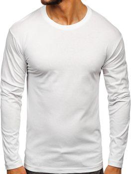 Biele pánske tričko s dlhými rukávmi bez potlače Bolf 1209