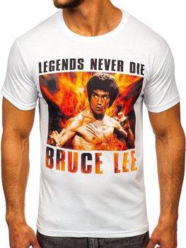 Biele pánske tričko s potlačou BOLF 001