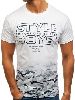 Biele pánske tričko s potlačou BOLF 0010