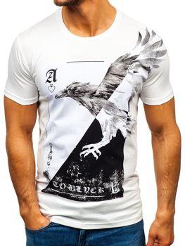 Biele pánske tričko s potlačou BOLF 181210
