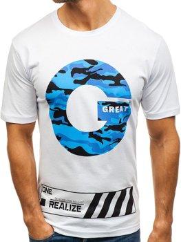 09fce58f4f7c Biele pánske tričko s potlačou BOLF 6299