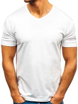 e576b83c44c2 Biele pánske tričko s výstrihom do V bez potlače BOLF 172010-A