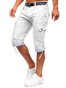 Bielo-čierna pánske kapsáčové kraťasy s opaskom Bolf S001BB