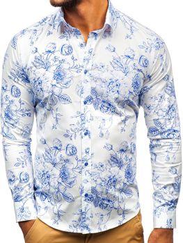 Bielo-modrá pánska vzorovaná košeľa s dlhými rukávmi BOLF 200G66