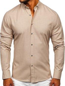Blankytná pánska bavlnená košeľa s dlhými rukávmi Bolf 20701
