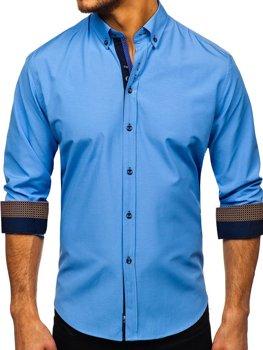 Blankytná pánska elegantá košeľa s dlhými rukávmi BOLF 8840-1