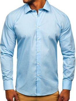 Blankytná pánska elegantná košeľa s dlhými rukávmi Bolf SM38