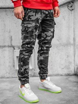 Bledografitové kapsáčové jogger nohavice s maskáčovým vzorom Bolf CT6019