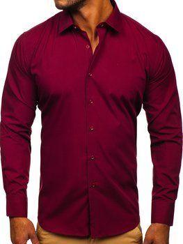 Bordová pánska elegantná košeľa s dlhými rukávmi Bolf SM19