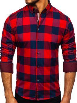 Bordová pánska károvaná košeľa s dlhými rukávmi Bolf 4701-2