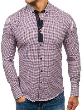 Bordová pánska vzorovaná košeľa s dlhými rukávmi BOLF 8810