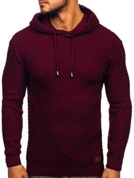 Bordový pánsky sveter s kapucňou Bolf 7004
