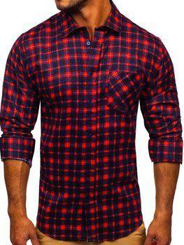 Červená pánska flanelová košeľa s dlhými rukávmi Bolf F9