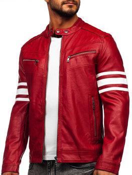 Červená pánska koženková biker bunda Bolf BF59359