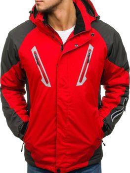 Červená pánska lyžiarska zimná bunda parka BOLF F809