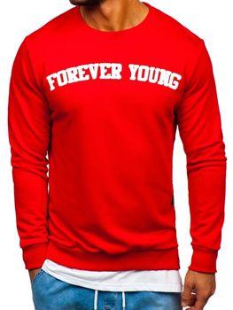 Červená pánska mikina bez kapucne s potlačou FOREVER YOUNG  Bolf 11116