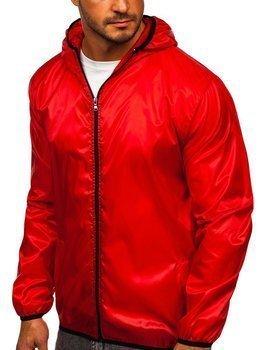 Červená pánska prechodná bunda s kapucňou BOLF 5060