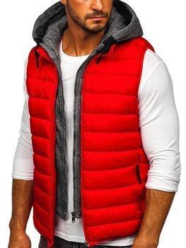 Červená pánska prešívaná vesta s kapucňou Bolf B2901