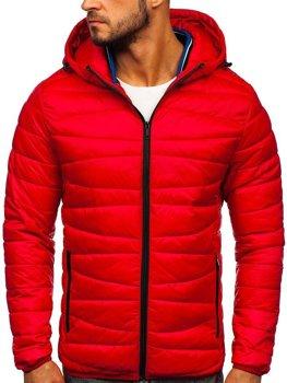 Červená pánska prešívaná zimná bunda Bolf 1139