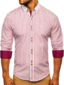 Červená pánska prúžkovaná košeľa s dlhými rukávmi Bolf 9713