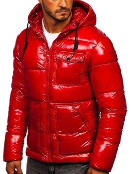 Červená pánska športová prešívaná zimná bunda Bolf 973