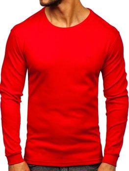 Červené pánske tričko s dlhými rukávmi bez potlače Bolf 145359