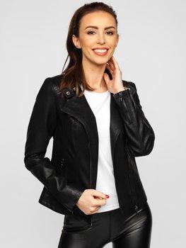 Čierna dámska koženková bunda Bolf 2055