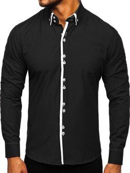 Čierna pánska elegantná košeľa s dlhými rukávmi BOLF 1721-1