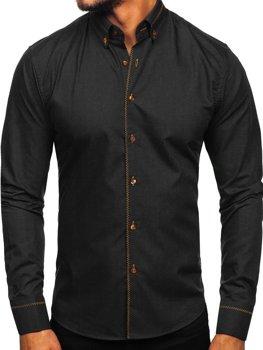 Čierna pánska elegantná košeľa s dlhými rukávmi Bolf 6964