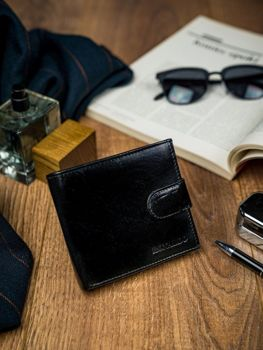 Čierna pánska kožená peňaženka 4588