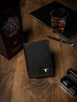 Čierna pánska kožená peňaženka 498