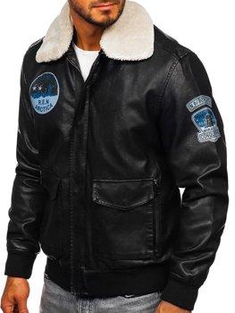 Čierna pánska letecká bunda z eko-kože BOLF 4794 77fc36f2341