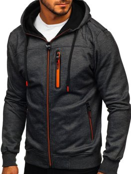 Čierna pánska mikina na zips s kapucňou Bolf TC870-1