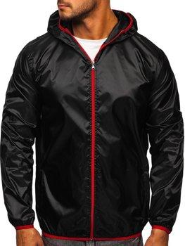 Čierna pánska prechodná bunda s kapucňou BOLF 5060