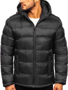 Čierna pánska prešívaná športová zimná bunda Bolf AB72