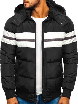 Čierna pánska prešívaná športová zimná bunda Bolf JK397