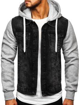 Čierna pánska rifľová bunda Bolf 211902