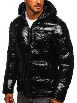 Čierna pánska športová prešívaná zimná bunda Bolf 973